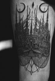 大腿黑色线条雕刻风格幻想大教堂纹身图案