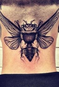 颈部雕刻风格黑色大昆虫纹身图案
