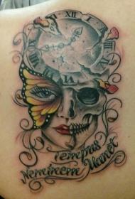 蝴蝶钟表骷髅字母纹身图案