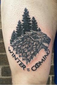 大腿黑色神秘的野兽字母纹身图案