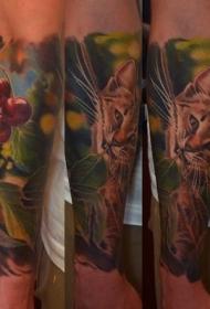 小臂写实风格彩色野猫与樱桃纹身图案