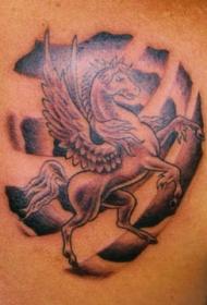 飞马和符号黑色纹身图案