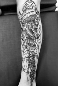 小腿巨大的黑色线条水母纹身图案