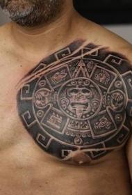 逼真的彩色玛雅日历胸部纹身图案