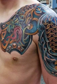 半甲凯尔特结和龙盔甲纹身图案