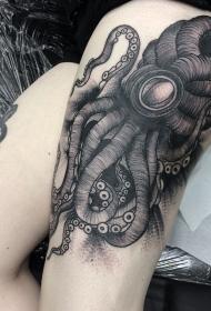 大腿雕刻风格黑色神秘章鱼纹身图案