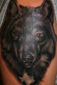 逼真的黑色狼头大臂纹身图案