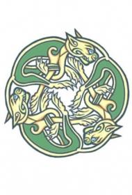 三只凯尔特兽组合纹身图案