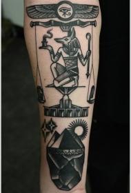 黑色阿努比斯埃及金字塔纹身图案