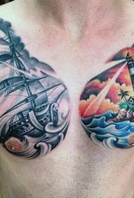 半甲school彩色灯塔与帆船纹身图案