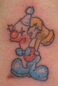 卡通小丑和锤子纹身图案