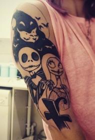 小臂黑色的僵尸夫妇卡通纹身图案