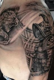 半甲黑白角斗士与格斗狮子纹身图案