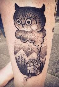 小腿黑色点刺奇怪的猫头鹰和夜晚房子纹身图案