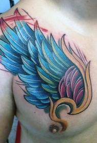 胸部多彩的幻想翅膀纹身图案