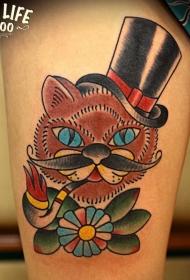 大腿old school彩色猫吸烟斗和花朵纹身图案