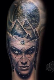 雕刻风格黑色金字塔和行星女性肖像纹身图案