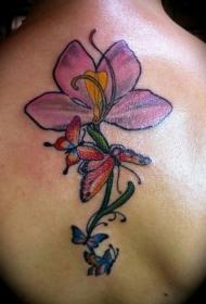 后背花卉和蝴蝶纹身图案
