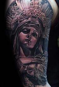 黑灰风格彩色逼真的圣女雕像纹身图案