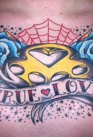 胸部蓝色玫瑰和字母纹身图案
