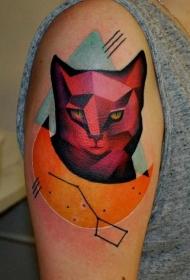 鲜艳颜色的猫纹身图案