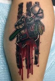 彩色卡通血腥的手与印度斧纹身图案