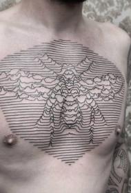 胸部黑色线条昆虫纹身图案