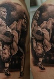 大臂黑灰摔跤运动员战斗纹身图案