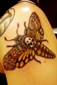 大臂卡通风格彩色蝴蝶与骷髅纹身图案