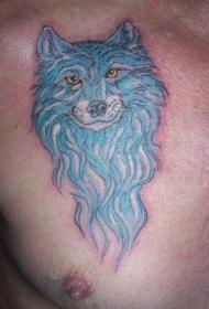 蓝色狼头胸部纹身图案