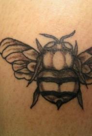 胖胖的黑白蜜蜂纹身图案