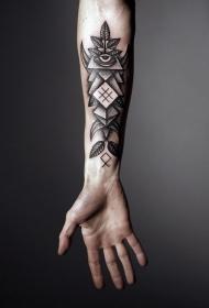 黑灰几何眼睛树叶手臂纹身图案