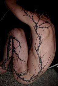 全身夸张的黑色树纹身图案
