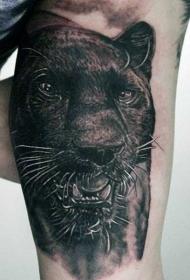 写实风格大臂内侧黑豹纹身图案