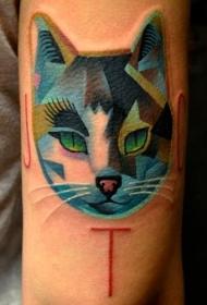 多边形的猫纹身图案