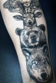 手臂黑色各种写实动物纹身图案