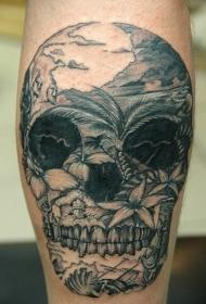 墨西哥传统的黑色骷髅与海岛岸纹身图案