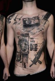 胸部和腹部黑色摄像机手枪字母纹身图案