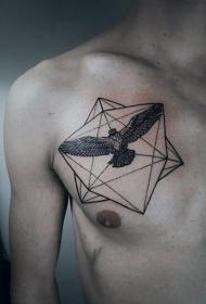 胸部小几何与老鹰纹身图案