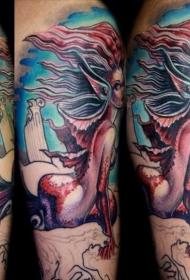 彩色卡通幻想美人鱼纹身图案