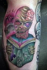 小腿old school阅读的僵尸纹身图案