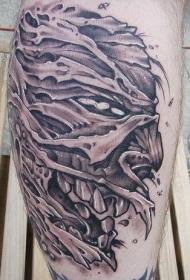 黑色恐怖怪物头像纹身图案