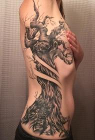 侧肋黑灰风格损坏的老树纹身图案