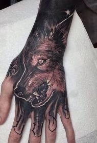 手背深色黑灰风格狼头纹身图案