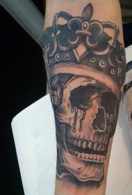 黑色流泪的骷髅王纹身图案