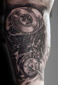 写实风格黑白汽车发动机纹身图案