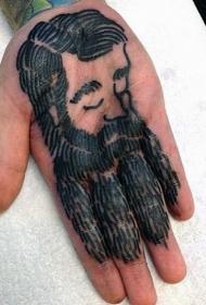 手心简单的黑色肖像与胡子纹身图案