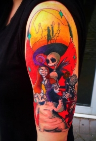 手臂神奇的各种卡通怪物纹身图案