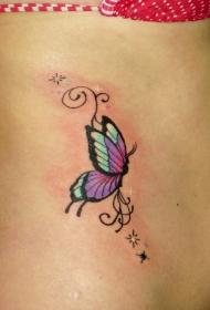 侧肋小蝴蝶和星星纹身图案