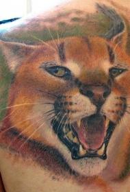 背部彩色咆哮野猫纹身图案